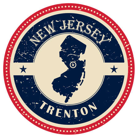 new jersey: Stamp of New Jersey state Illustration