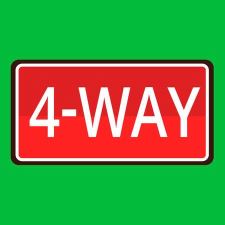 znak drogowy: 4-way road sign
