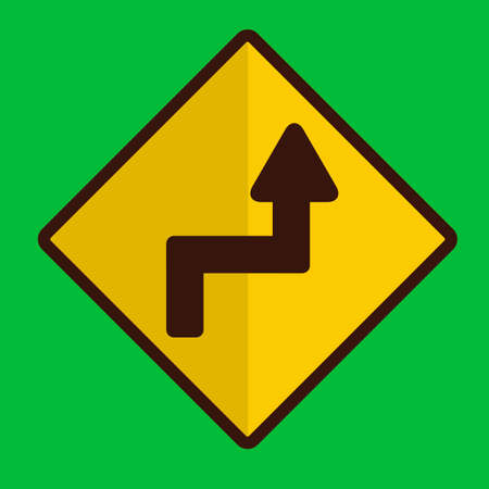 reverse: Sharp reverse right turns ahead sign