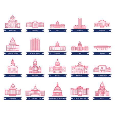 米国州議会議事堂の建物のコレクション  イラスト・ベクター素材
