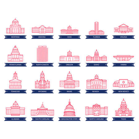 state government: Collection of usa state capitol buildings