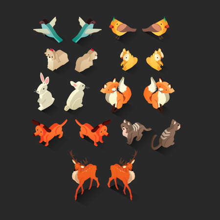 Isometric birds and animals set