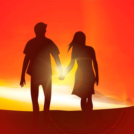 couple holding hands: Silhouette of a couple holding hands