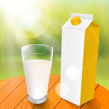 carton de leche: Cartón de leche con el vidrio