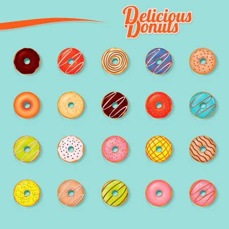 delicious: Set of delicious donuts