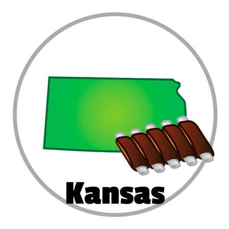 bbq ribs: Kansas state map