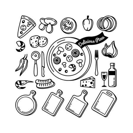 bell tomato: Delicious pizza recipe collection Illustration