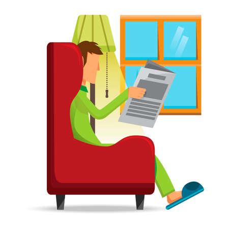 man reading: Man reading newspaper Illustration