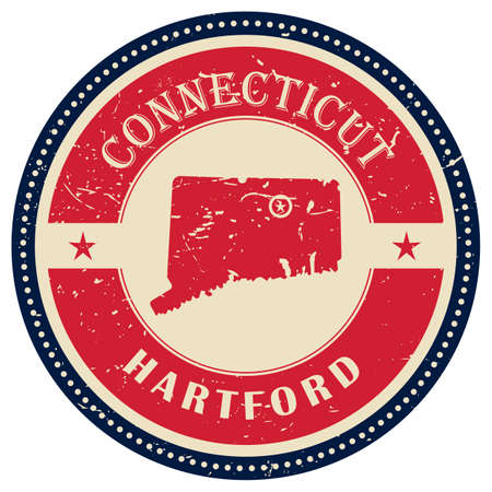 connecticut: Stamp of Connecticut state Illustration