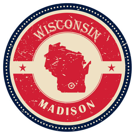 wisconsin state: Stamp of Wisconsin state