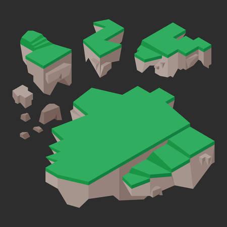 floating: Isometric floating lands Illustration