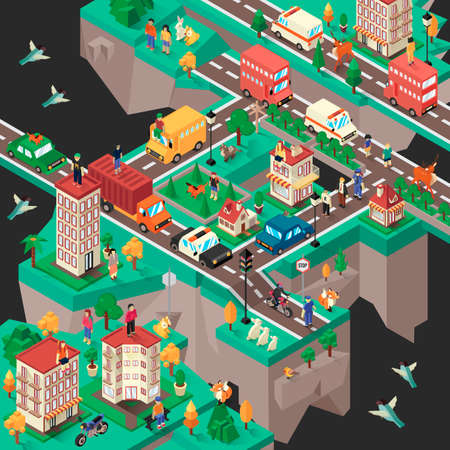 woman floating: Isometric floating city