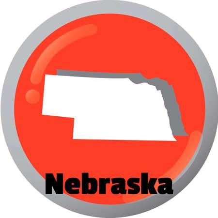 nebraska: Nebraska state map Illustration