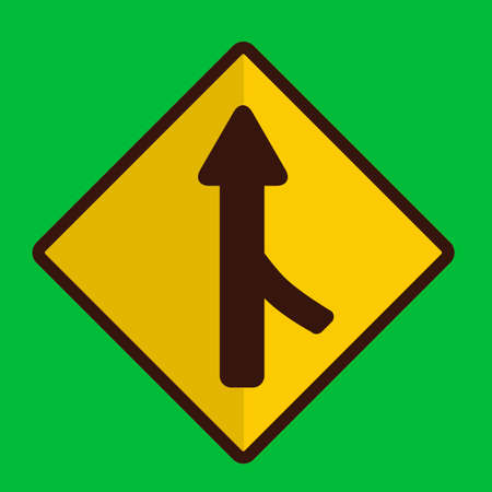 merge: Right merge road sign Illustration