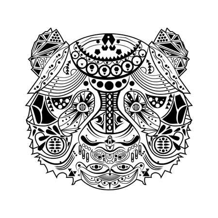 line drawings: Zentangle tiger Illustration