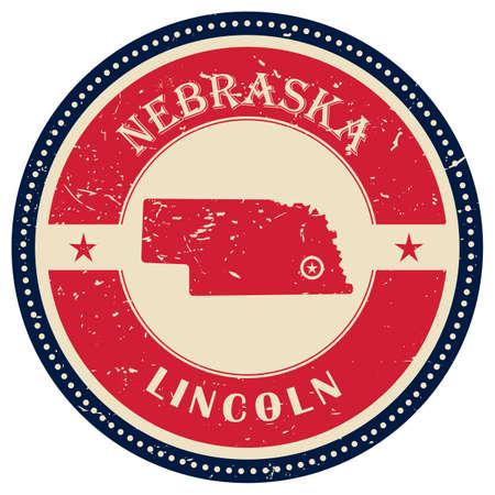 nebraska: Stamp of Nebraska state Illustration