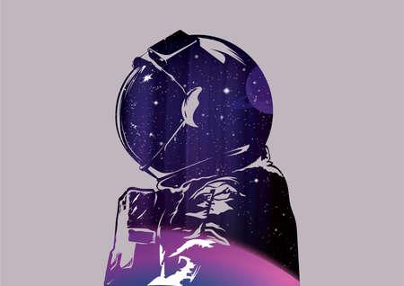 宇宙飛行士の二重露光 写真素材 - 45399942