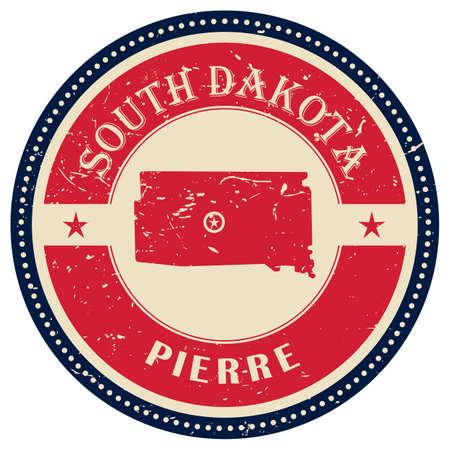 south dakota: Stamp of South Dakota state Illustration