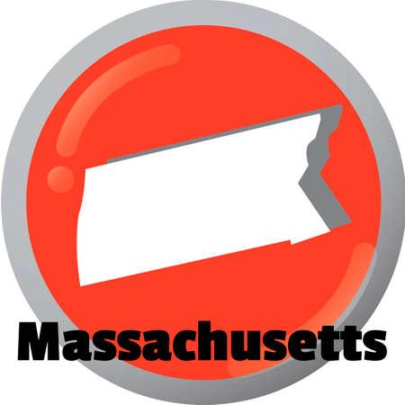 massachusetts: Massachusetts state map Illustration