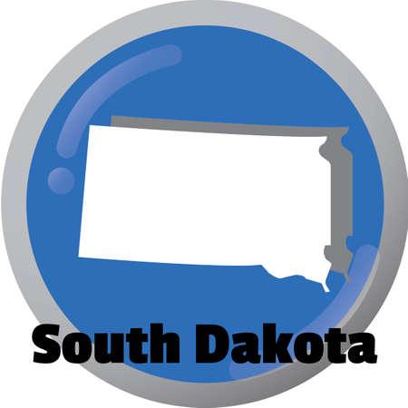 dakota: South dakota state map Illustration