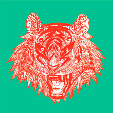 intricate: Intricate tiger head design Illustration