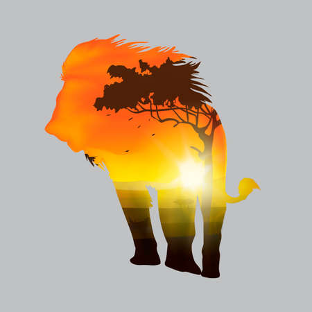double exposure: Double exposure of lion and forest