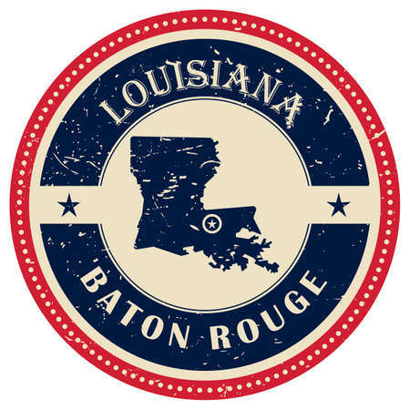 baton rouge: Stamp of Louisiana state