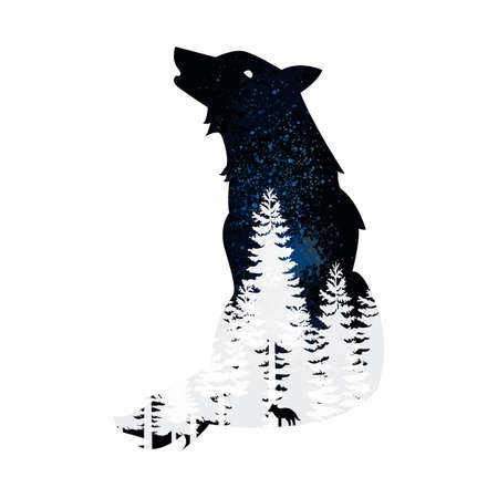 exposure: Double exposure wolf and forest