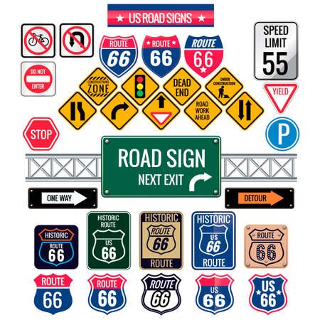 Set of us road signs