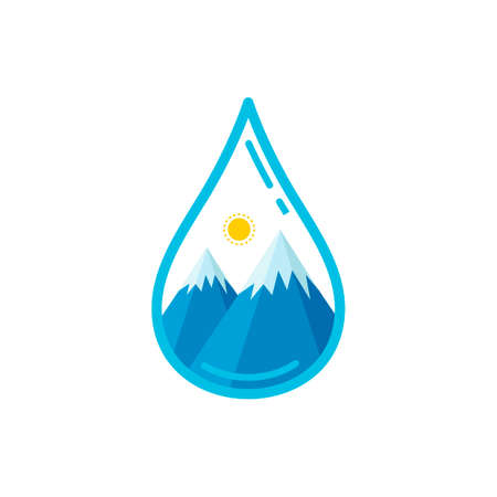 snowcapped mountain: Water drop with mountains and sun Illustration