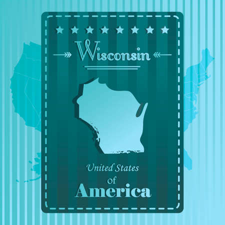 wisconsin: Wisconsin state map label Illustration