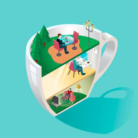 3 dimensional: 3 dimensional cup Illustration