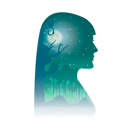 double exposure: Double exposure woman and nature Illustration