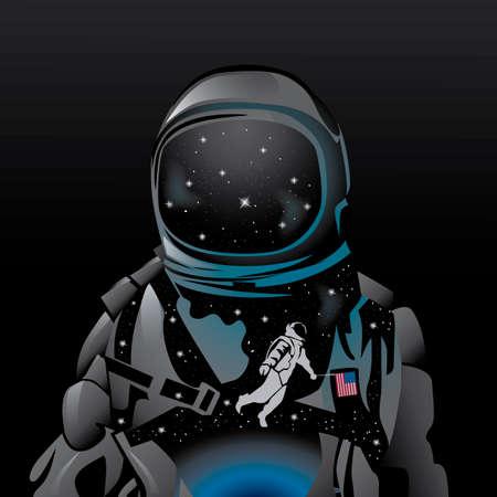 exposicion: Doble exposición de astronauta