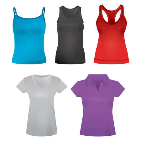 camisole: Collection of t-shirts and singlets Illustration