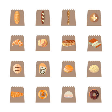 cream filled: Collection of food items Illustration
