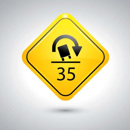 rollover: Truck rollover warning for sharp curves sign