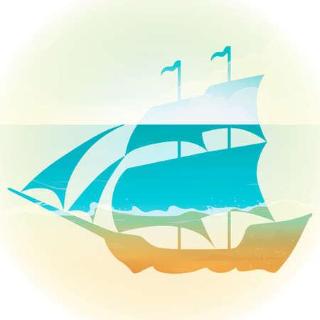 exposure: Double exposure of sailboat and ocean
