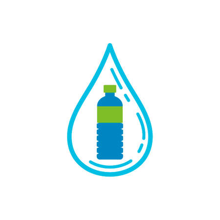 Water drop with water bottle Ilustracja