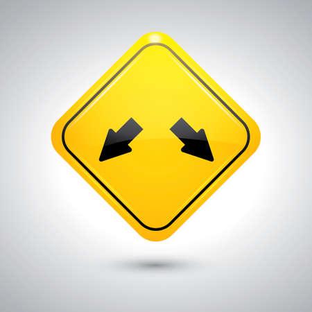 double lane: Double arrow w12 road sign