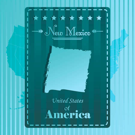 new mexico: New mexico state map label Illustration