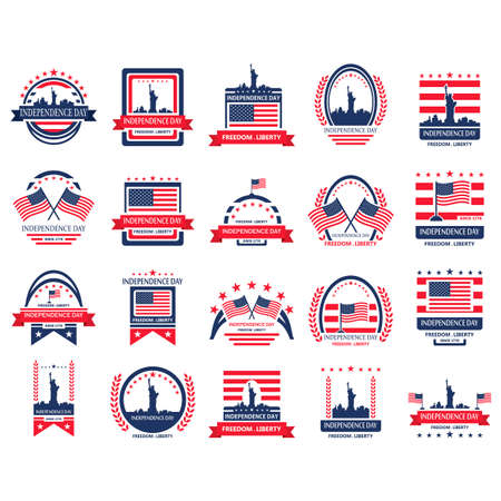 usa flags: Set of US independence day label