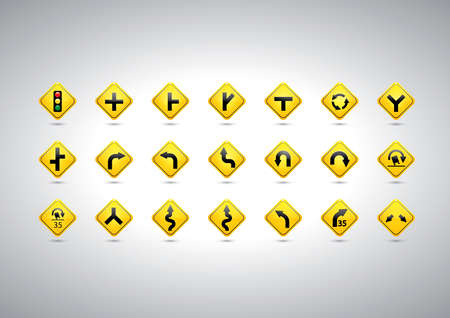 slow down: Collection of road signboards Illustration