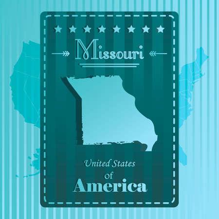 missouri: Missouri state map label Illustration