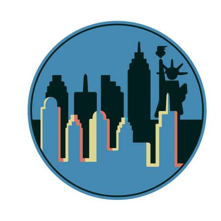 new york skyline: New york city skyline with statue of liberty