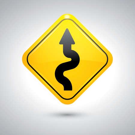 znak drogowy: Winding znak drogowy Ilustracja