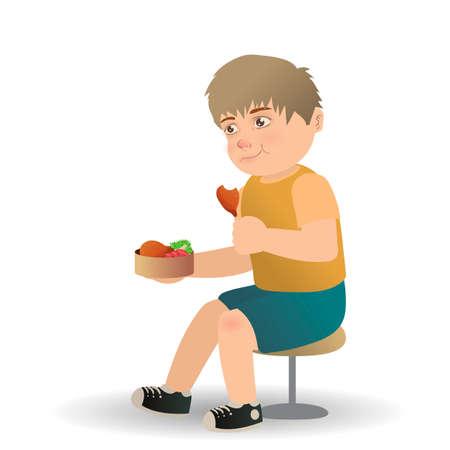 hungry kid: Boy eating chicken leg piece