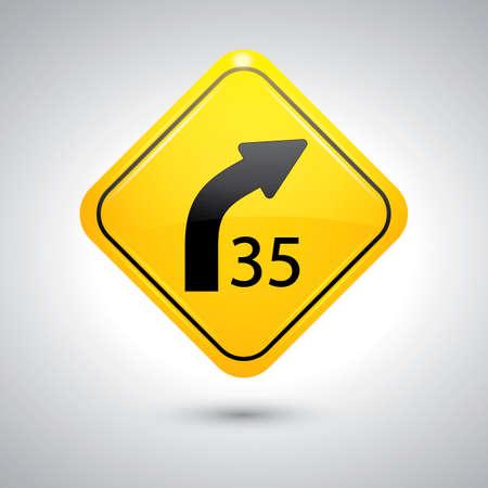 curve: Right curve sign Illustration
