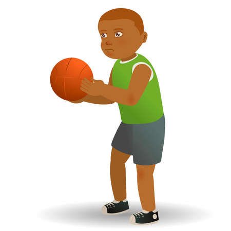 boy basketball: Boy holding basketball Illustration