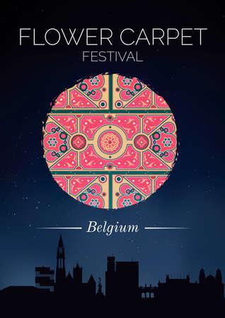night view: Flower carpet festival poster
